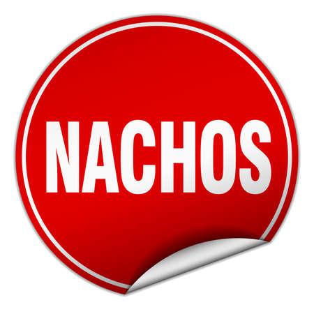nachos: nachos round red sticker isolated on white Illustration