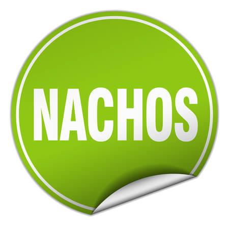 nachos: nachos round green sticker isolated on white