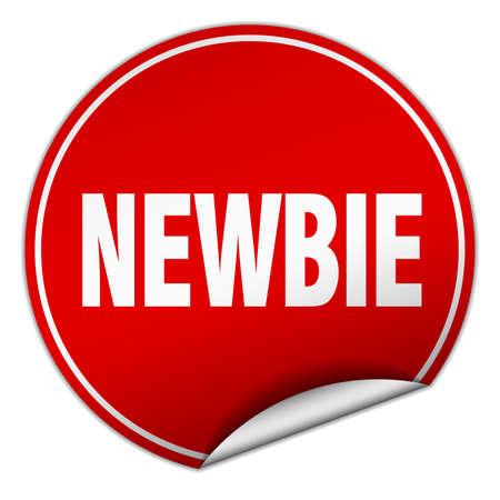 newbie: newbie round red sticker isolated on white Illustration