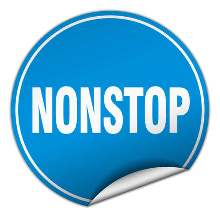 nonstop: nonstop round blue sticker isolated on white Illustration