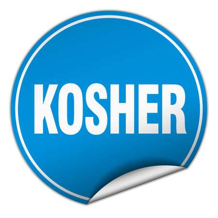 kosher: kosher round blue sticker isolated on white