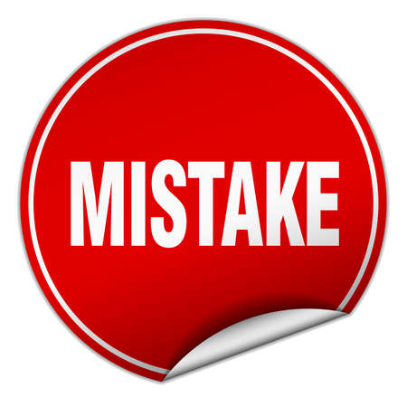 mistake: mistake round red sticker isolated on white Illustration
