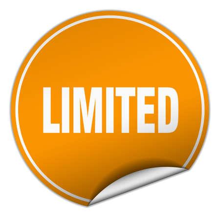 limited: limited round orange sticker isolated on white
