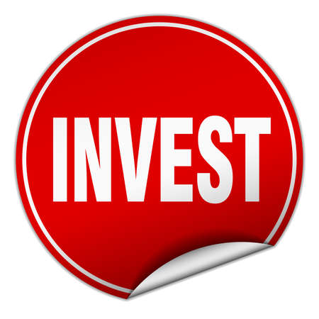 invest: invest round red sticker isolated on white