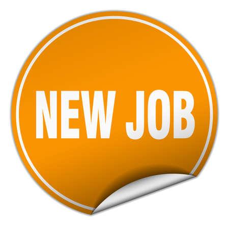 new job: new job round orange sticker isolated on white Illustration
