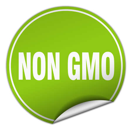 non: non gmo round green sticker isolated on white