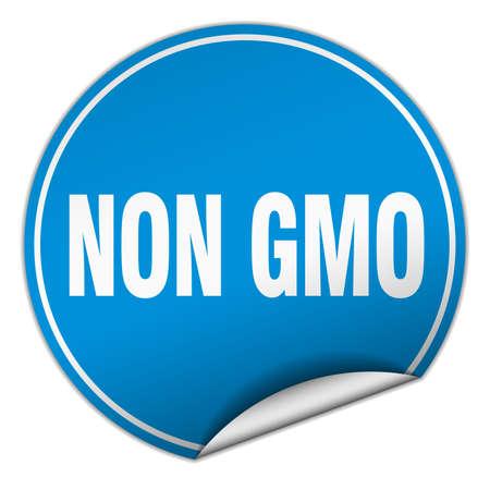 non: non gmo round blue sticker isolated on white