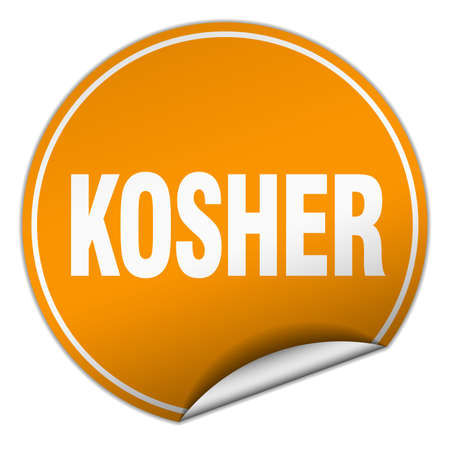 kosher: kosher round orange sticker isolated on white