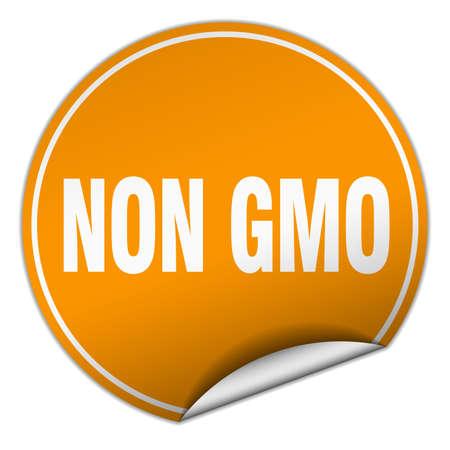 non: non gmo round orange sticker isolated on white