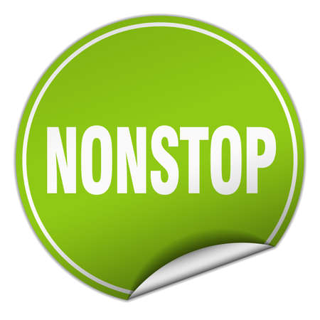 nonstop: nonstop round green sticker isolated on white Illustration