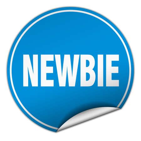 newbie: newbie round blue sticker isolated on white Illustration