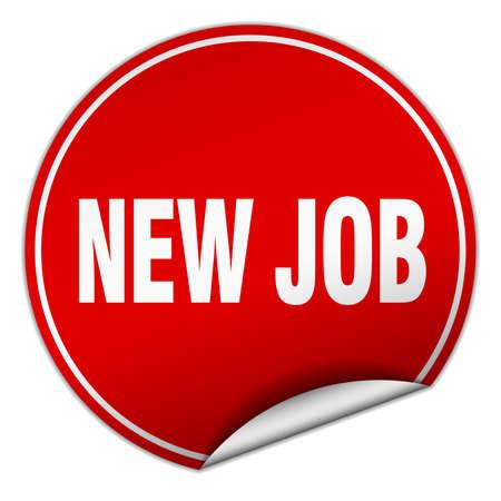 new job: new job round red sticker isolated on white