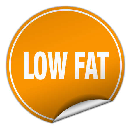 low fat: low fat round orange sticker isolated on white Illustration
