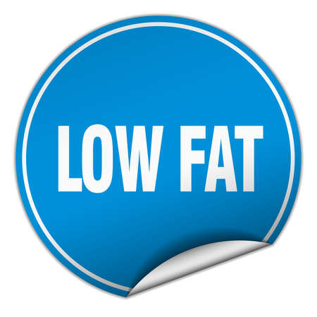 low fat: low fat round blue sticker isolated on white