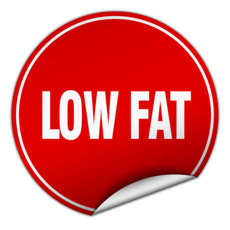 low fat: low fat round red sticker isolated on white