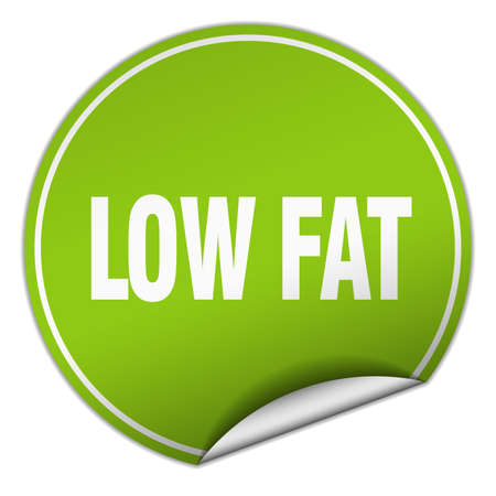 low fat round green sticker isolated on white
