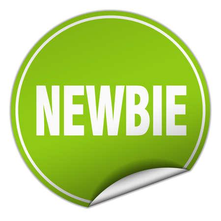 newbie: newbie round green sticker isolated on white