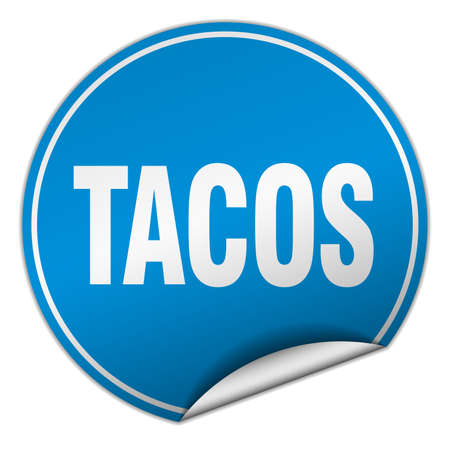 tacos: tacos round blue sticker isolated on white