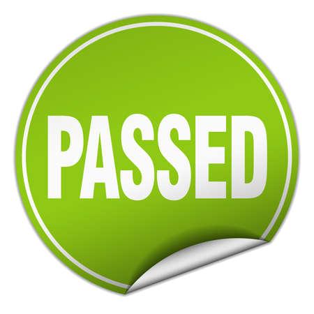 passed: passed round green sticker isolated on white