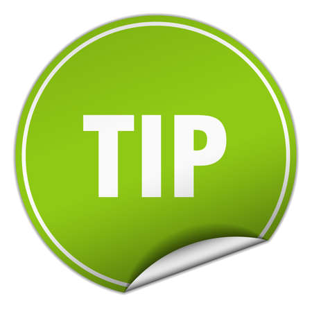 propina: tip round green sticker isolated on white Vectores