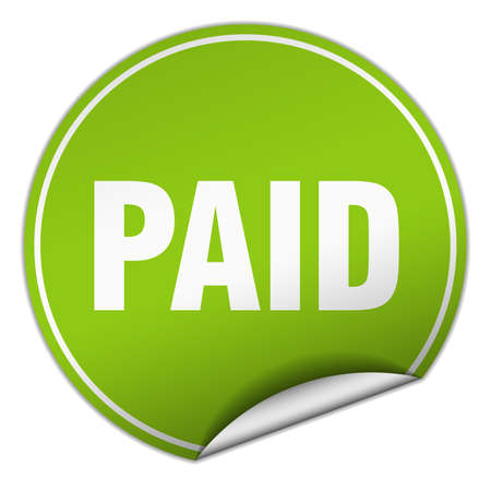 paid: paid round green sticker isolated on white Illustration