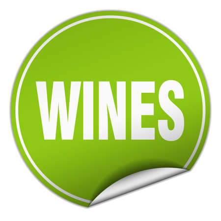 wines: wines round green sticker isolated on white