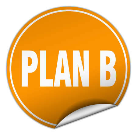 plan b: plan b round orange sticker isolated on white