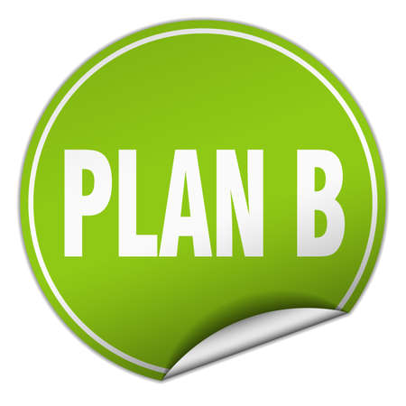 plan b: plan b round green sticker isolated on white