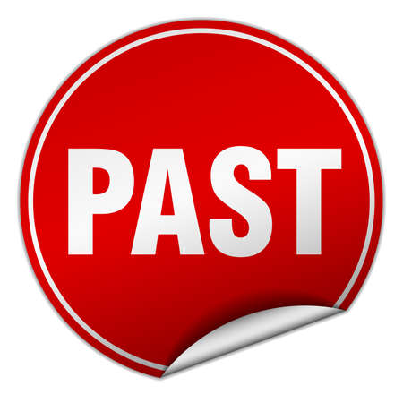 past round red sticker isolated on white Illustration