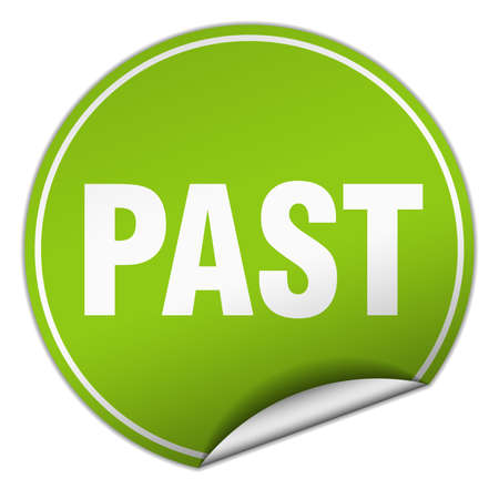 past round green sticker isolated on white Illustration