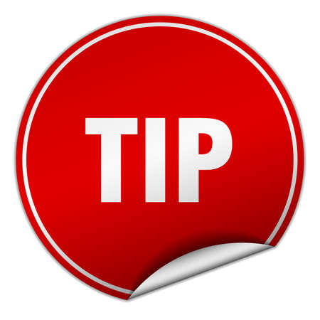 propina: tip round red sticker isolated on white