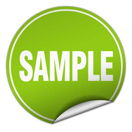 sample: sample round green sticker isolated on white Illustration