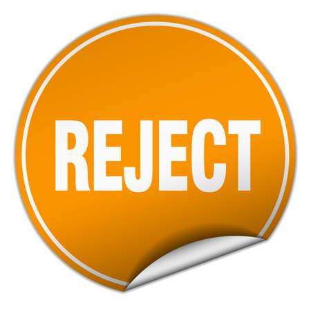 reject: reject round orange sticker isolated on white Illustration