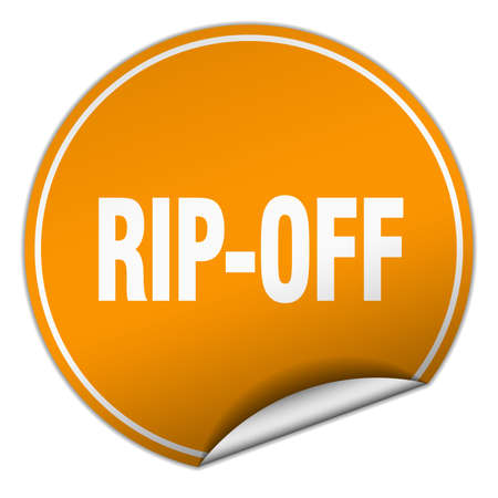 rip off: rip-off round orange sticker isolated on white