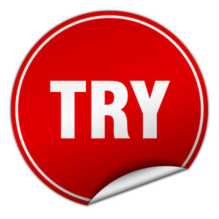 try: try round red sticker isolated on white