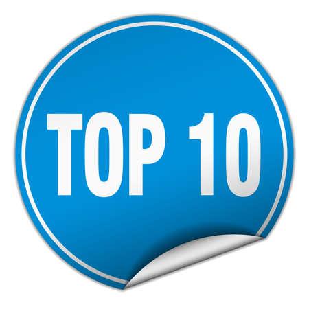 ten best: top 10 round blue sticker isolated on white