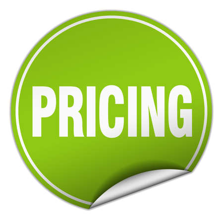 pricing: pricing round green sticker isolated on white Illustration