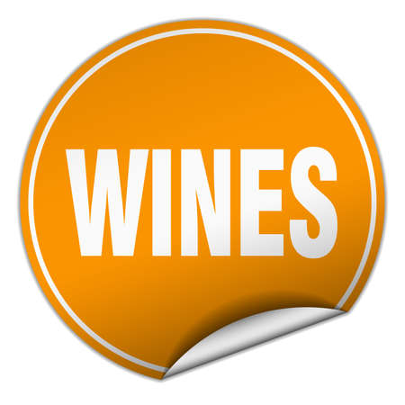 wines: wines round orange sticker isolated on white Illustration
