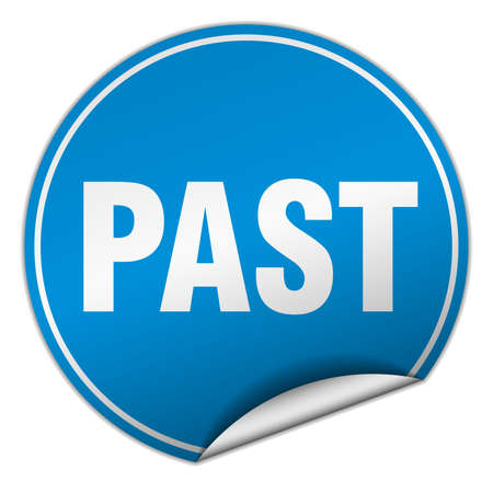 past: past round blue sticker isolated on white