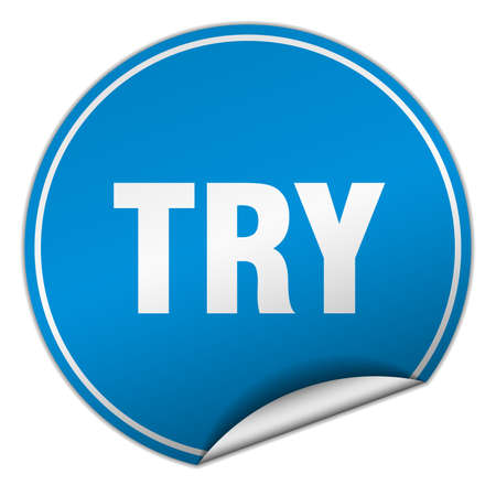 to try: try round blue sticker isolated on white