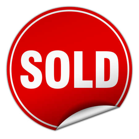 sold isolated: sold round red sticker isolated on white Illustration