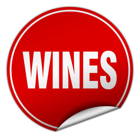 wines: wines round red sticker isolated on white