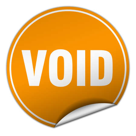 void: void round orange sticker isolated on white