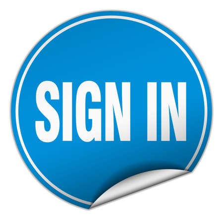 sign in: sign in round blue sticker isolated on white
