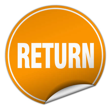 return: return round orange sticker isolated on white
