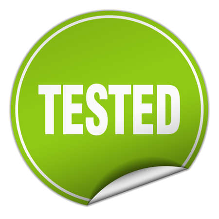 tested: tested round green sticker isolated on white Illustration