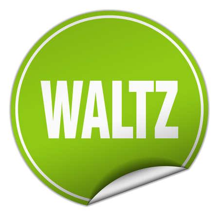 waltz: waltz round green sticker isolated on white Illustration