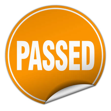 passed: passed round orange sticker isolated on white