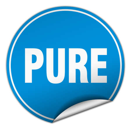 pure: pure round blue sticker isolated on white