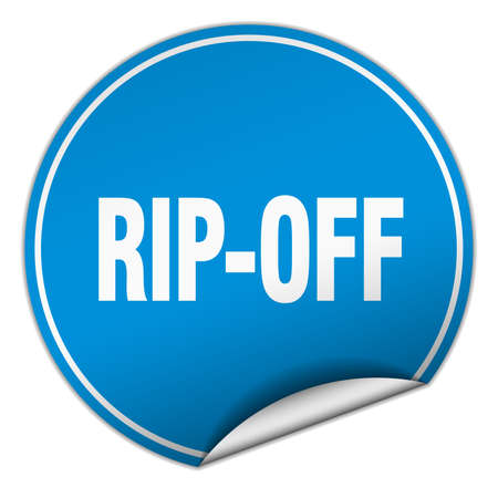 rip off: rip-off round blue sticker isolated on white